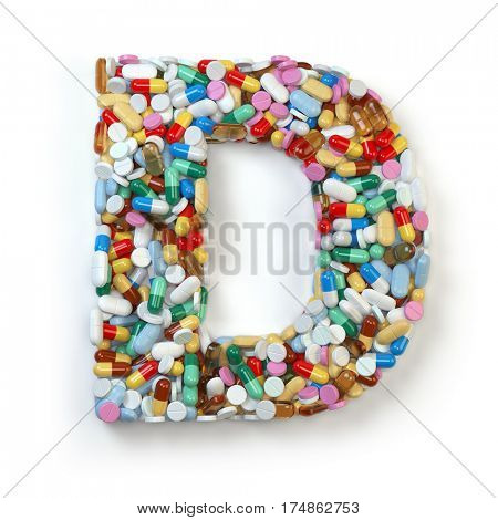 Letter D. Set of alphabet of medicine pills, capsules, tablets and blisters isolated on white. 3d illustration