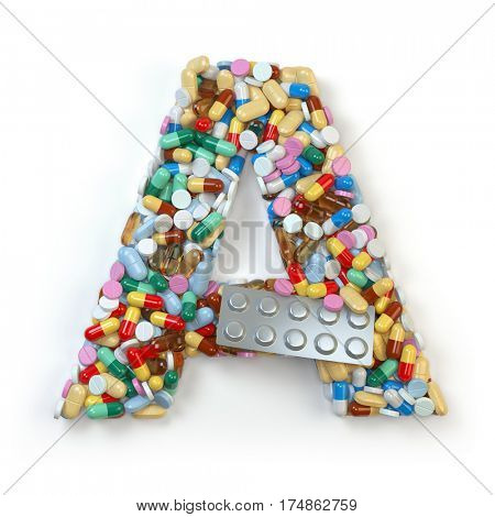 Letter A. Set of alphabet of medicine pills, capsules, tablets and blisters isolated on white. 3d illustration