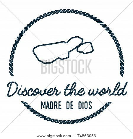 Madre De Dios Island Map Outline. Vintage Discover The World Rubber Stamp With Island Map. Hipster S