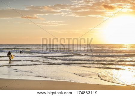 Surfer walking into the ocean with a board at sunrise. Surfers Paradise, Gold Coast.