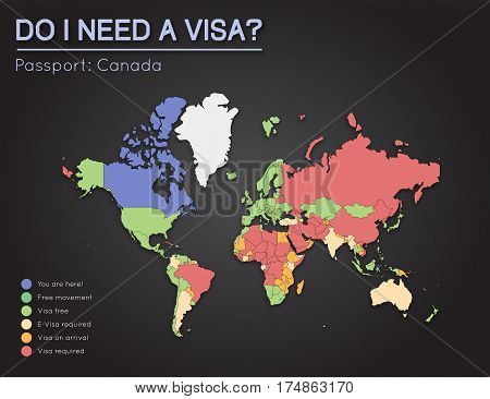 Visas Information For Canada Passport Holders. Year 2017. World Map Infographics Showing Visa Requir