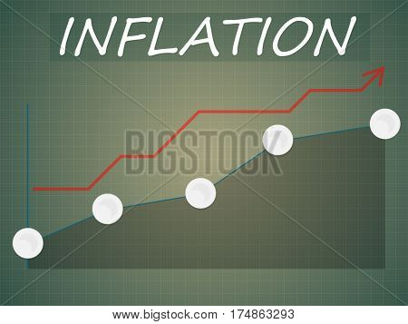 Word Inflation On An Uptrend Arrow On A Checkered Background