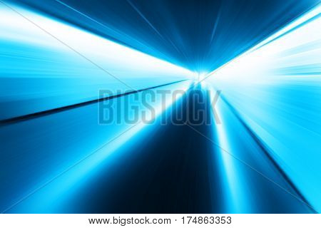 Abstract toned image of speed motion in the tunnel.
