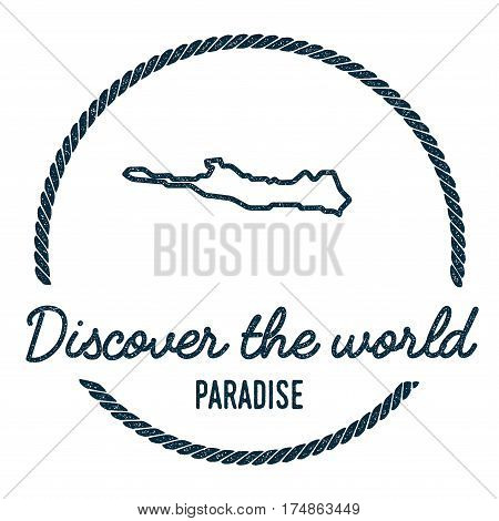 Paradise Island Map Outline. Vintage Discover The World Rubber Stamp With Island Map. Hipster Style