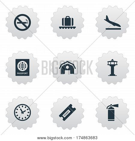 Vector Illustration Set Of Simple Plane Icons. Elements Luggage Carousel, Flight Control Tower, Watch And Other Synonyms Passport, Tower And Hangar.