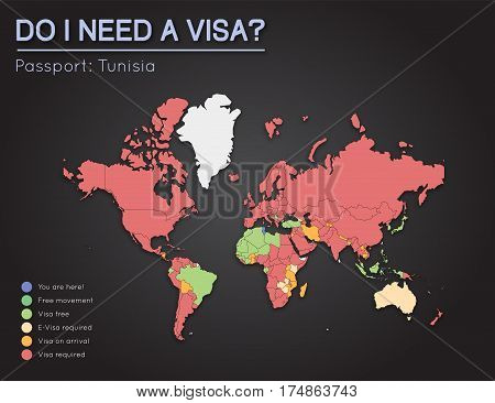 Visas Information For Republic Of Tunisia Passport Holders. Year 2017. World Map Infographics Showin