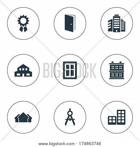 Vector Illustration Set Of Simple Architecture Icons. Elements Flat, Block, Glazing And Other Synonyms Windows, Block And Achievement.