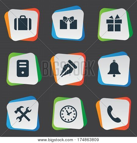 Vector Illustration Set Of Simple Accessories Icons. Elements Repair, Ring, Ink Pencil And Other Synonyms Switchboard, Repair And Handbell.
