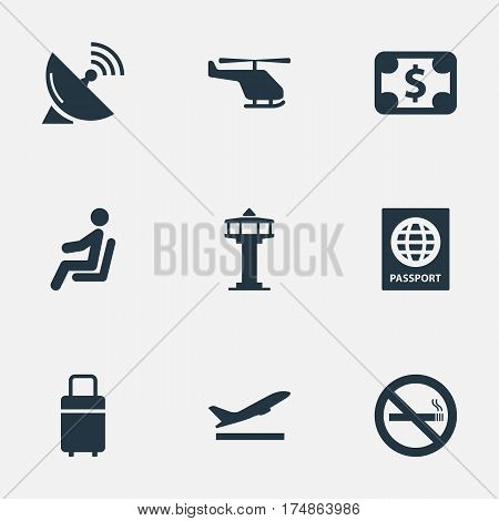 Vector Illustration Set Of Simple Plane Icons. Elements Flight Control Tower, Travel Bag, Takeoff And Other Synonyms Bag, Currency And Stop.