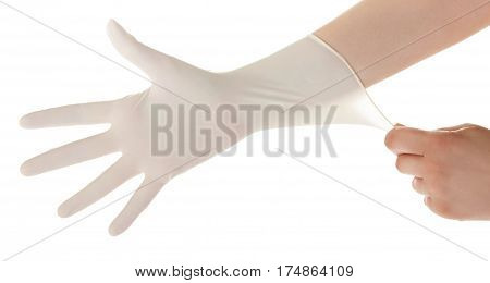 Doctor Show Hands With Sterile Gloves Isolated On White. Medical Advertising Concept.