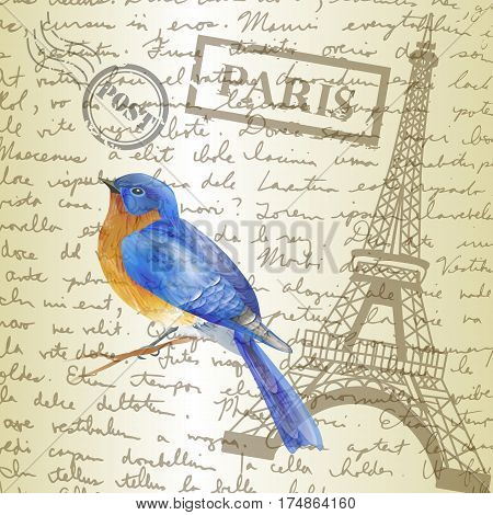 table top with sketching paper and bluebird on hand-drawn writing background with eiffel tower vector