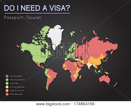 Visas Information For Taiwan Passport Holders. Year 2017. World Map Infographics Showing Visa Requir