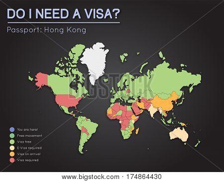 Visas Information For Hong Kong Passport Holders. Year 2017. World Map Infographics Showing Visa Req