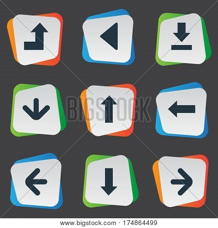 Vector Illustration Set Of Simple Cursor Icons. Elements Left Direction, Downwards Pointing, Downwards Pointing And Other Synonyms Growing, Download And Pointing.