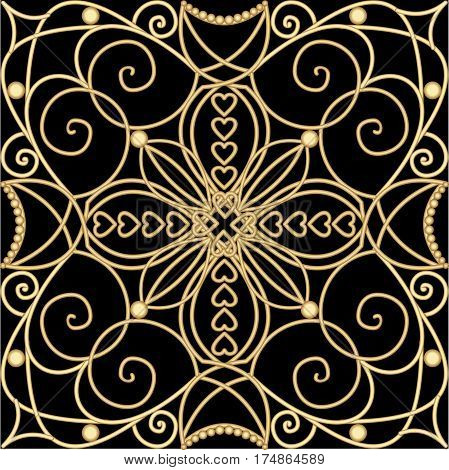 Filigree golden ornament tile in art deco style metallic flourish patterns with 3d illusion on black background. Vintage victorian decoration. Vector eps 10
