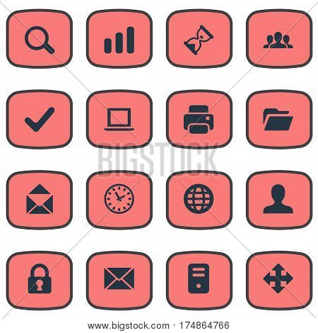 Vector Illustration Set Of Simple Practice Icons. Elements Statistics, Sand Timer, Notebook Synonyms Watch, Printout And Closed.