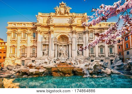 Fountain di Trevi in Rome at spring, Italy