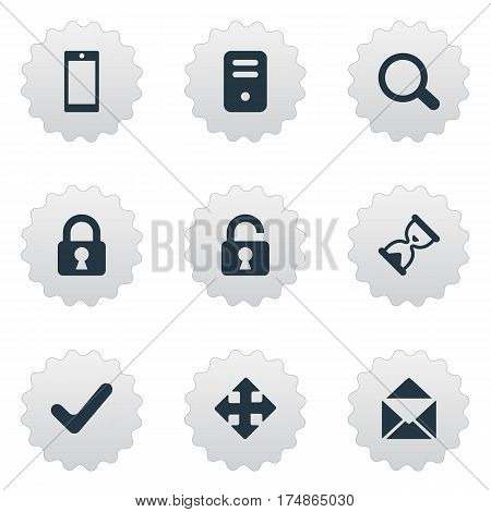 Vector Illustration Set Of Simple Apps Icons. Elements Arrows, Lock, Magnifier And Other Synonyms Touchscreen, Arrow And Sandglass.