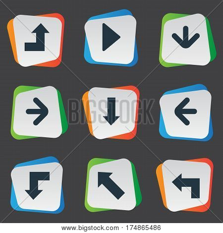 Vector Illustration Set Of Simple Arrows Icons. Elements Downwards Pointing, Pointer, Left Direction And Other Synonyms Arrow, Down And Increasing.