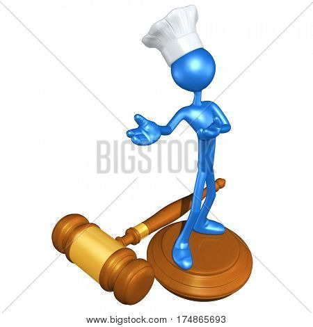 The Original 3D Character Illustration Chef On A Legal Gavel Block