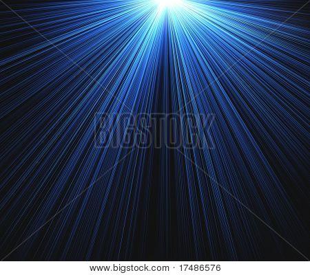 Rayos azules sobre fondo negro