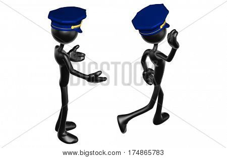 The Original 3D Character Illustration Police Officer Walking Away From Another