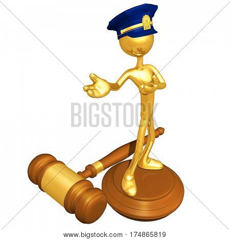 The Original 3D Character Illustration Police Officer On A Legal Gavel Block