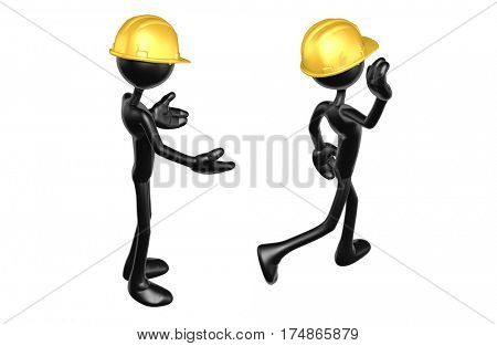 The Original 3D Character Illustration Construction Worker Walking Away From Another