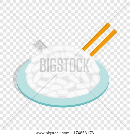 Rice in plate isometric icon 3d on a transparent background vector illustration