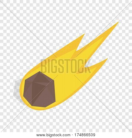 Falling meteor with long tail isometric icon 3d on a transparent background vector illustration