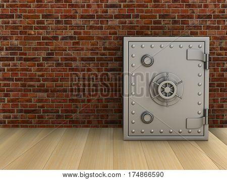Safe in room. 3D image