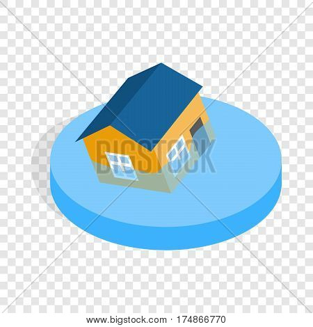 House sinking in a water isometric icon 3d on a transparent background vector illustration