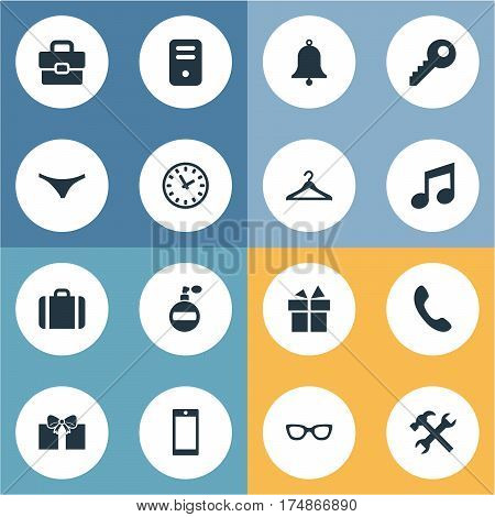 Vector Illustration Set Of Simple  Icons. Elements System Unit, Hanger, Underwear And Other Synonyms Telephone, Eyeglasses And Underpants.