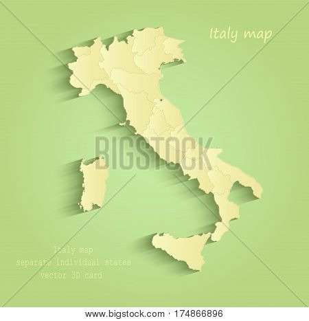 Italy map separate individual states green yellow vector