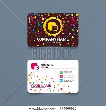 Business card template with confetti pieces. Chat sign icon. Speech bubble with three dots symbol. Communication chat bubble. Phone, web and location icons. Visiting card  Vector
