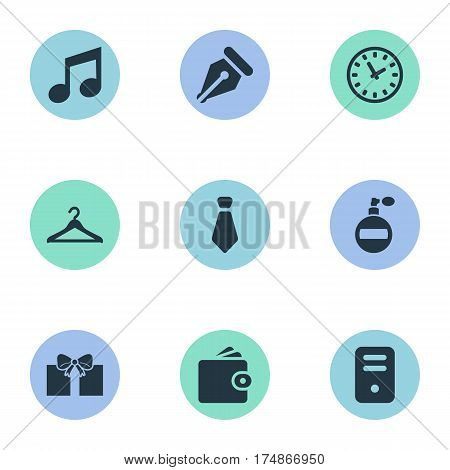 Vector Illustration Set Of Simple Accessories Icons. Elements Music, Time, Billfold And Other Synonyms Hanger, Wallet And Ink.
