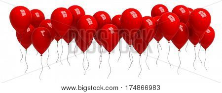 Row of red balloons isolated on white - 3d render