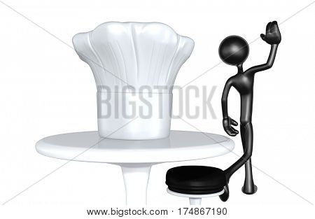 The Original 3D Character Illustration Walking Away From A Chef Hat