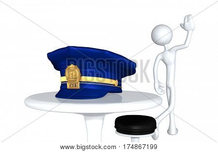 The Original 3D Character Illustration Walking Away From A Police Cap