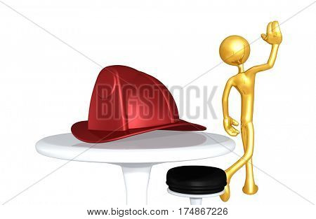 The Original 3D Character Illustration Walking Away From A Fire Fighters Helmet