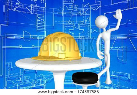 The Original 3D Construction  Worker Character Illustration Walking Away From A Hard Hat