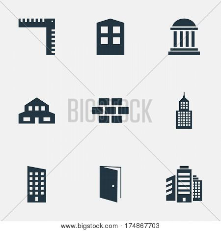 Vector Illustration Set Of Simple Construction Icons. Elements Gate, Construction, Floor And Other Synonyms Edifice, Shanty And Cottage.