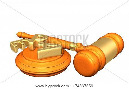 EPA Scattered Legal Gavel Concept 3D Illustration