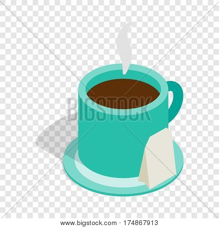 Turquoise cup of tea with teabag isometric icon 3d on a transparent background vector illustration