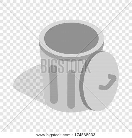 Gray trash can with open lid isometric icon 3d on a transparent background vector illustration
