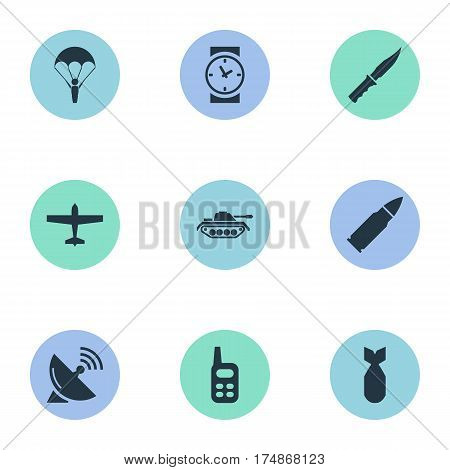 Vector Illustration Set Of Simple War Icons. Elements Watch, Walkies, Nuke And Other Synonyms Aviation, Bullet And Sputnik.