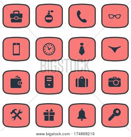 Vector Illustration Set Of Simple  Icons. Elements Present, Time, System Unit And Other Synonyms Panties, Cravat And Watch.