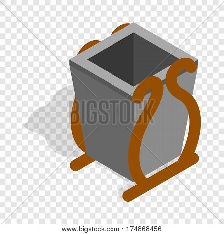 Gray litter bin isometric icon 3d on a transparent background vector illustration