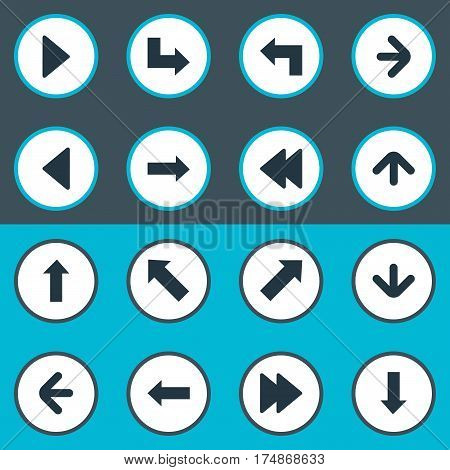 Vector Illustration Set Of Simple Indicator Icons. Elements Indicator, Upward Direction, Pointer And Other Synonyms Right, Pointing And Rearward.