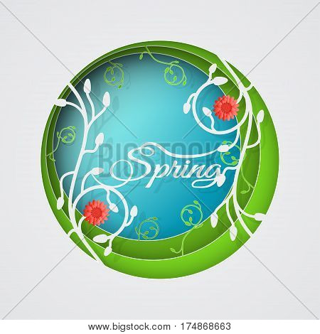 Multilayered Spring vector poster in style of the paper art carve on the gradient sunny blue and green background with floral pattern and red flowers.